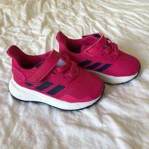 Red adidas duramo toddler sneakers